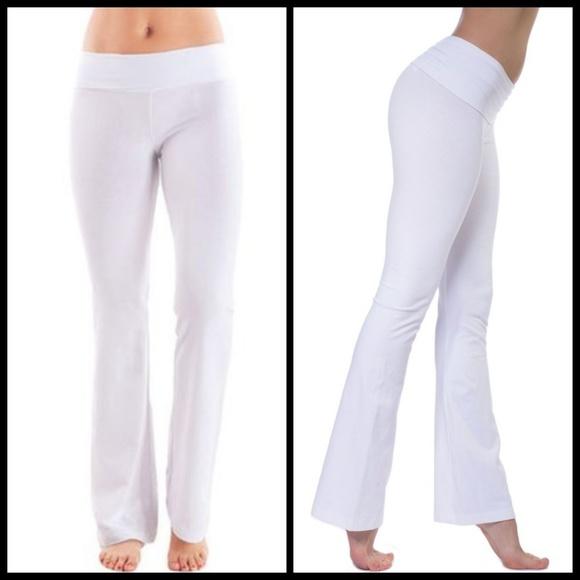 86b12e19f3e0f T PARTY white foldover bootcut yoga pants TALL. M_5b6c58032beb7902a72853d5